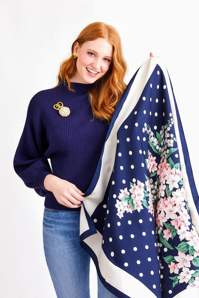 Line & Dot Navy Blue Alder Sweater