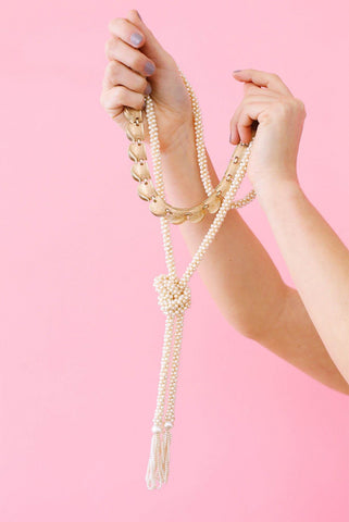 50's__Vintage__Pearl Lariat Necklace