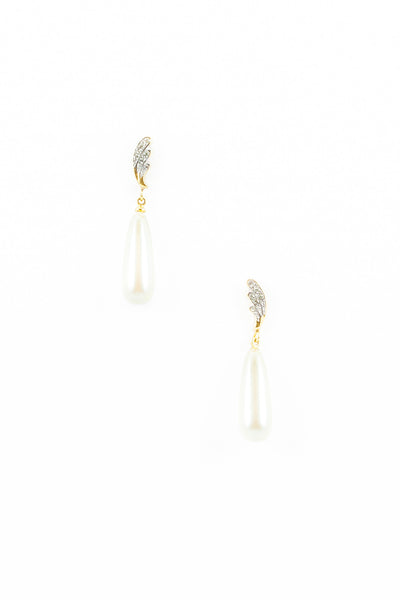 70's__Vintage__Rhinestone Wing Pearl Drop Earrings