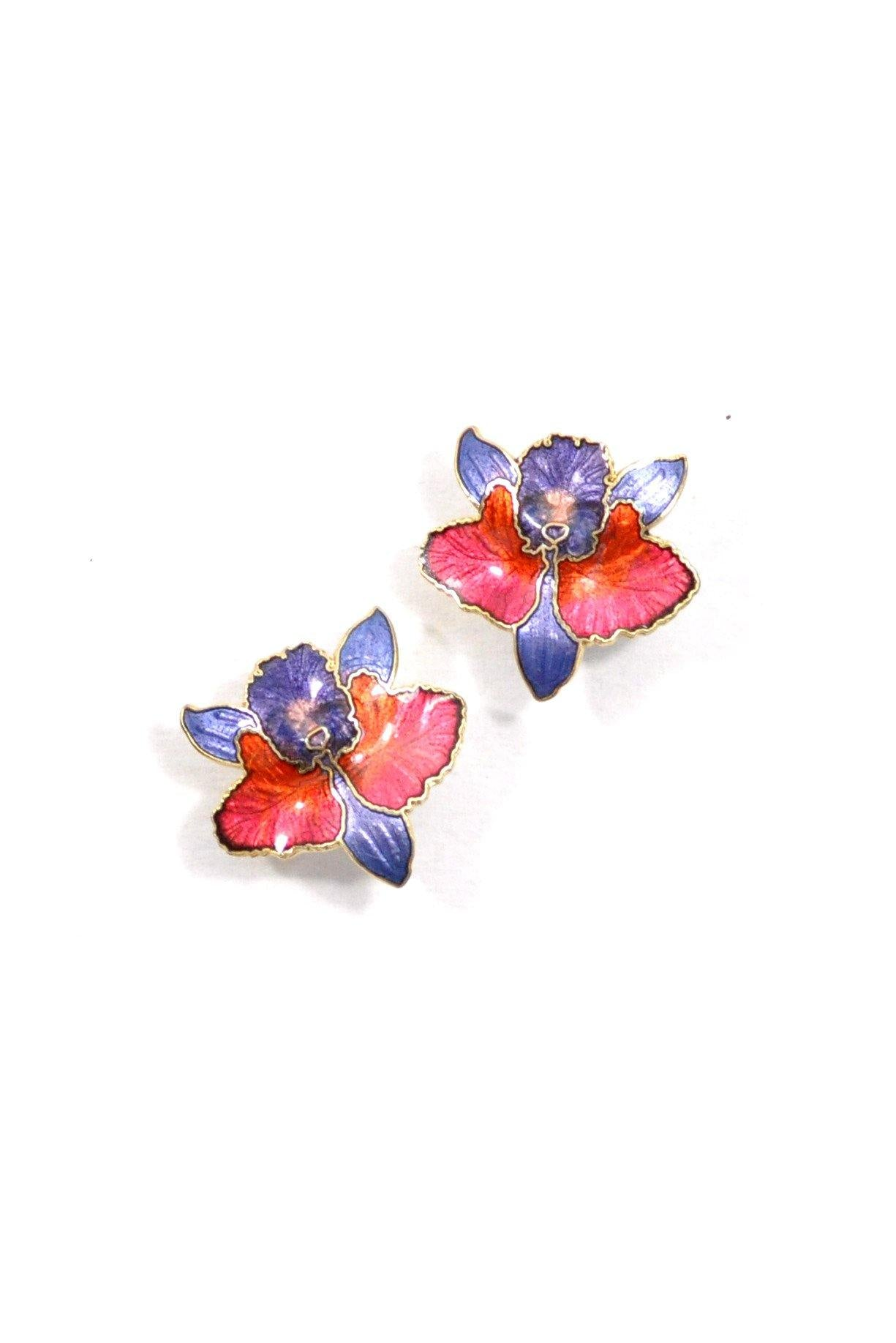 80's__Vintage__Orchid Pierced Earrings