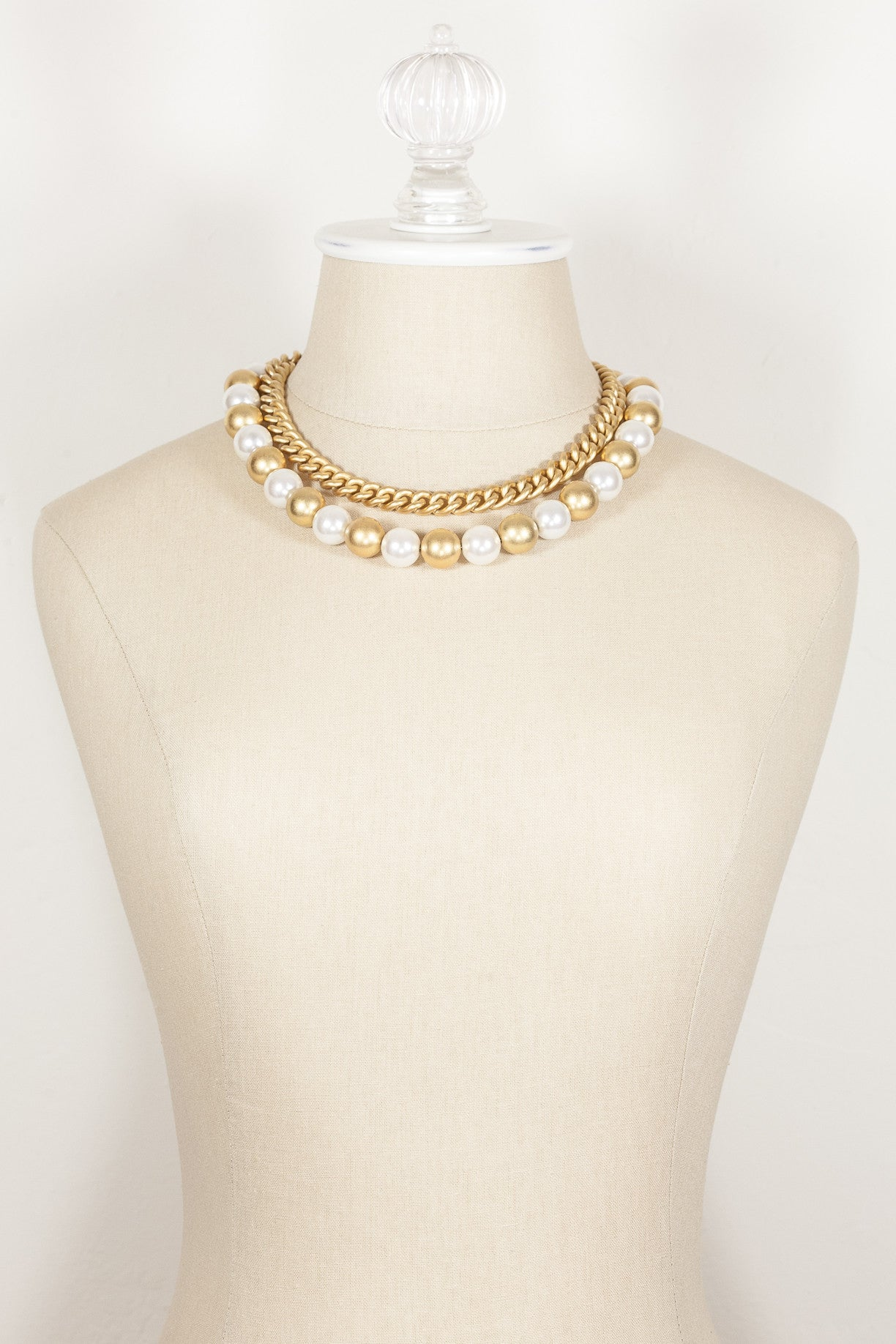 80's__Anne Klein__Chunky Pearl Chain Necklace