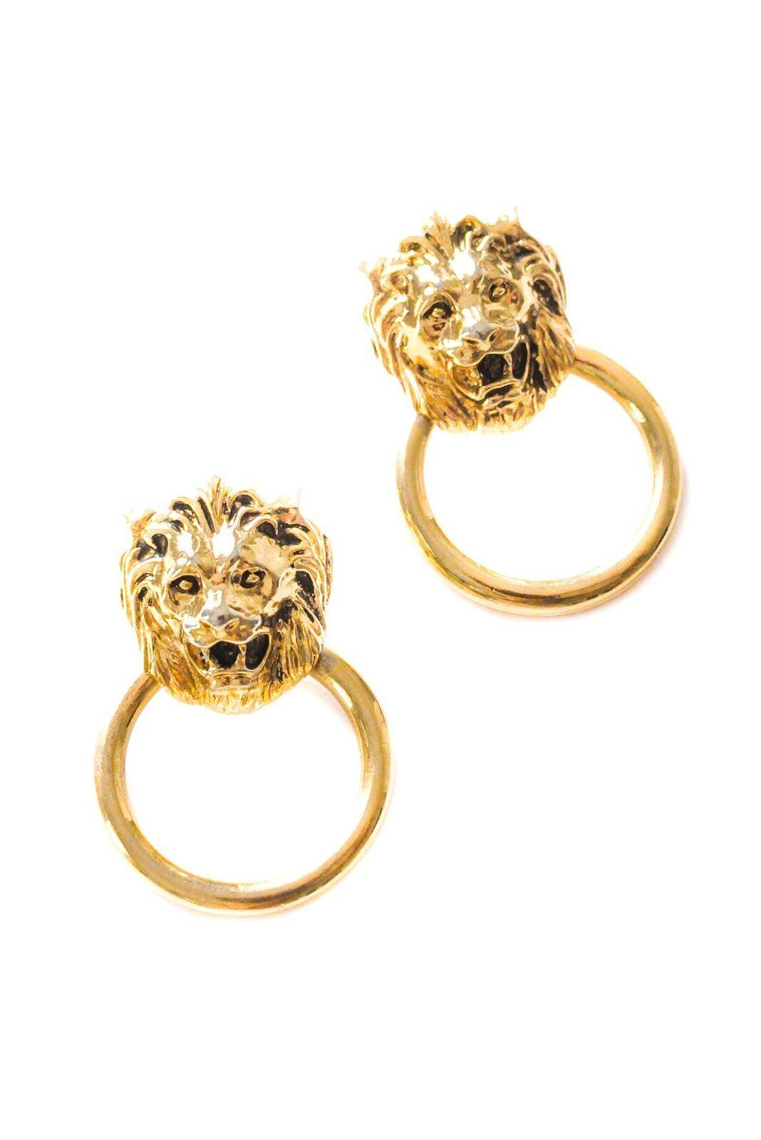 Lion Door Knocker Pierced Earrings