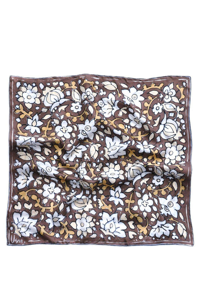 Brown Floral Square Scarf