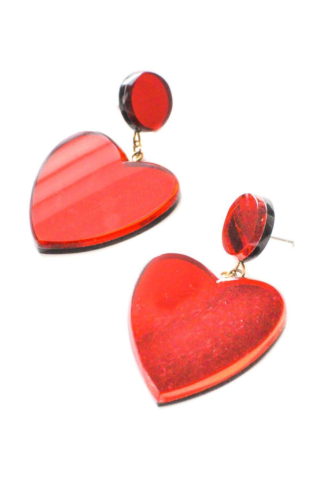 Red Heart Pierced Earrings