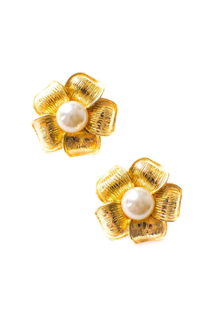 Pearl Floral Statement Clip-on Earrings