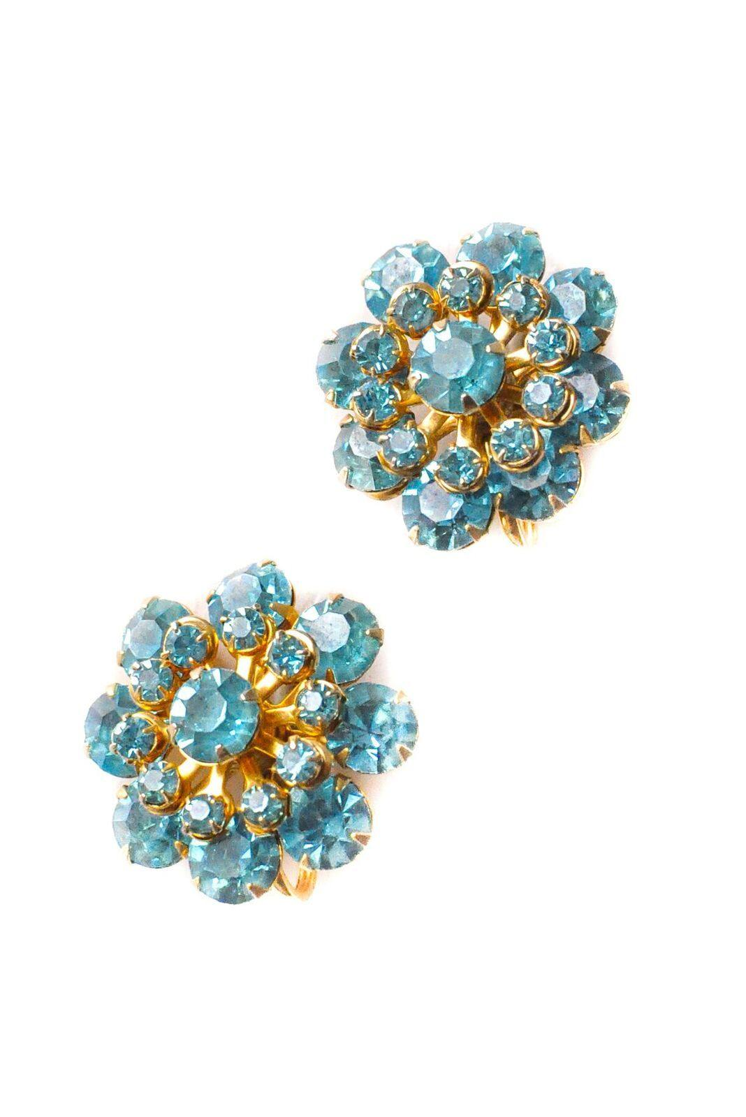 Aqua Rhinestone Floral Clip-On Earrings