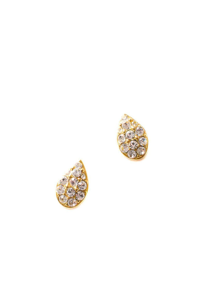 Rhinestone Teardrop Pierced Earrings