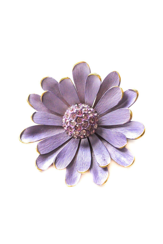 Purple Enamel Floral Brooch