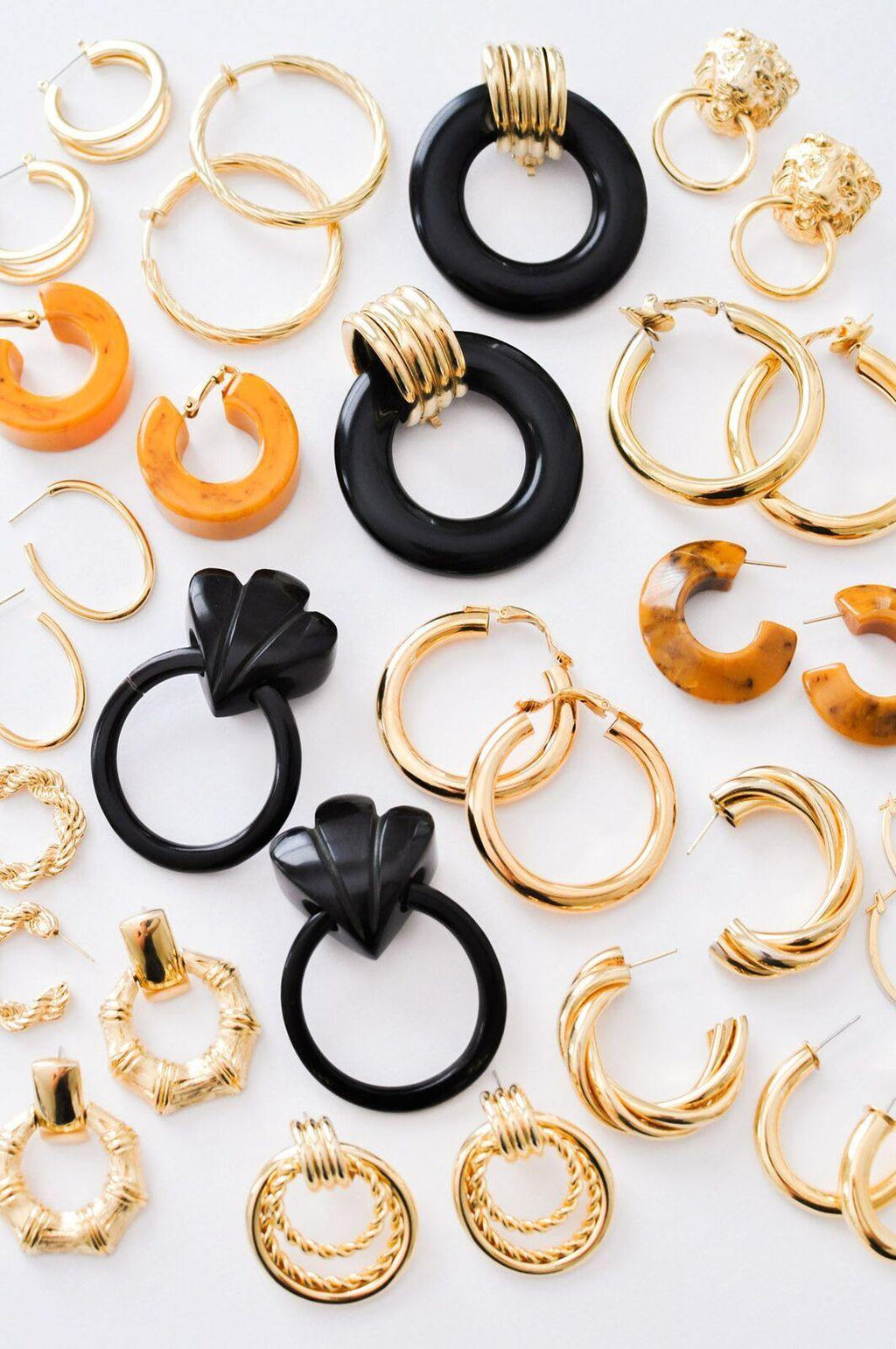 Black Statement Hoop Clip-On Earrings