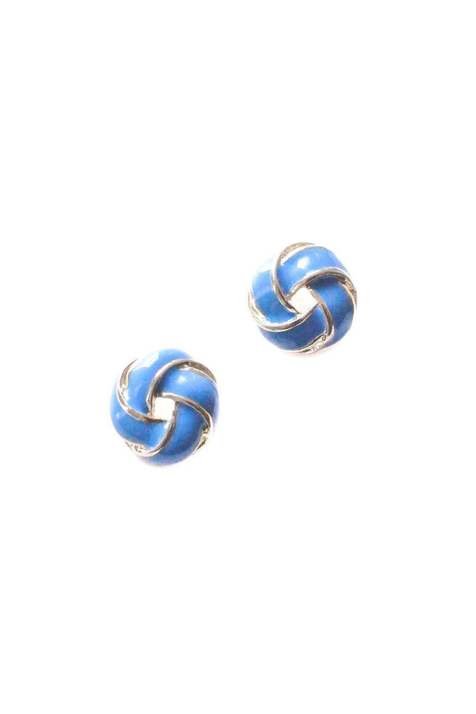 Blue Knot Pierced Earrings