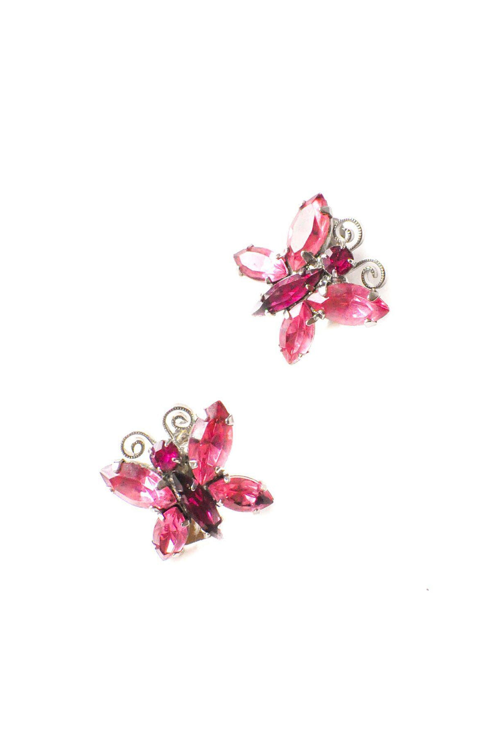 Pink Butterfly Clip-on Earrings