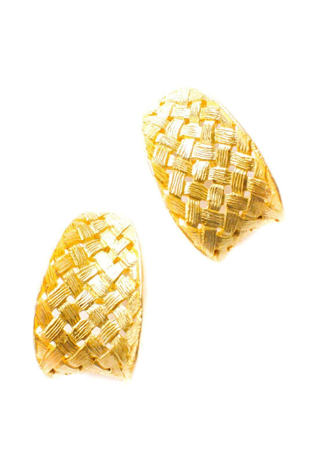 Basketweave Clip-On Earrings