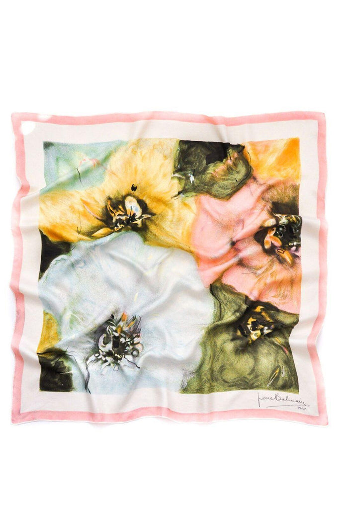 Pierre Balmain Watercolor Floral Square Scarf