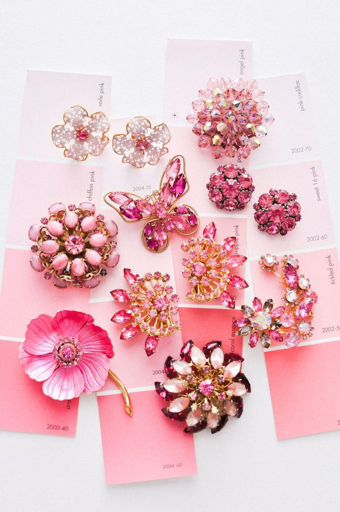 Pink Lace Floral Clip-On Earrings