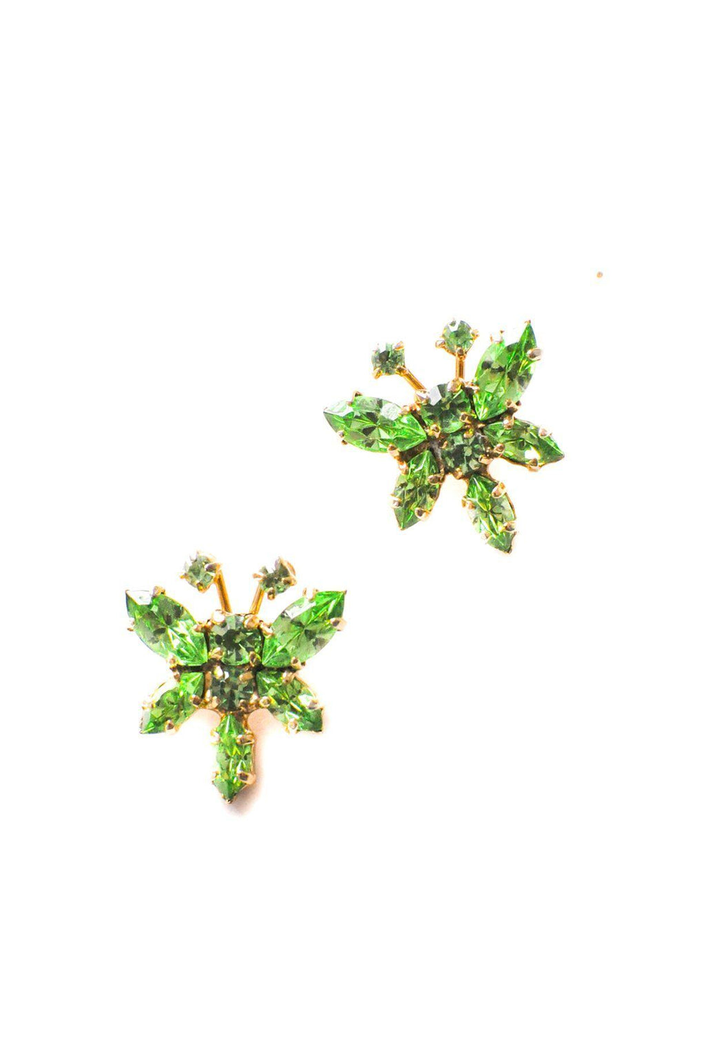 Green Rhinestone Butterfly Clip-on Earrings