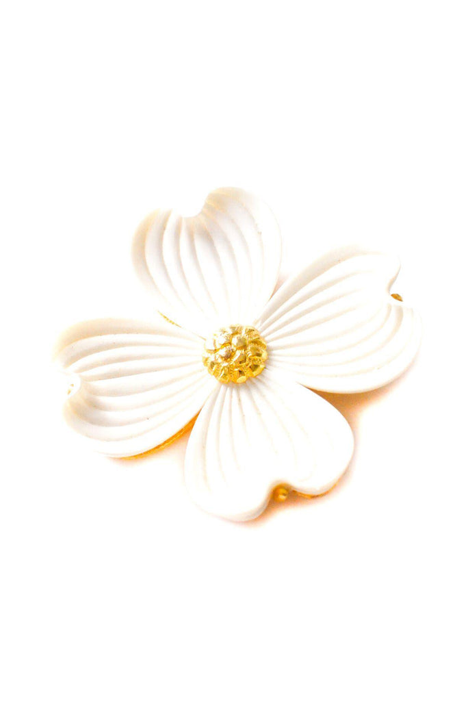 Statement White Floral Brooch