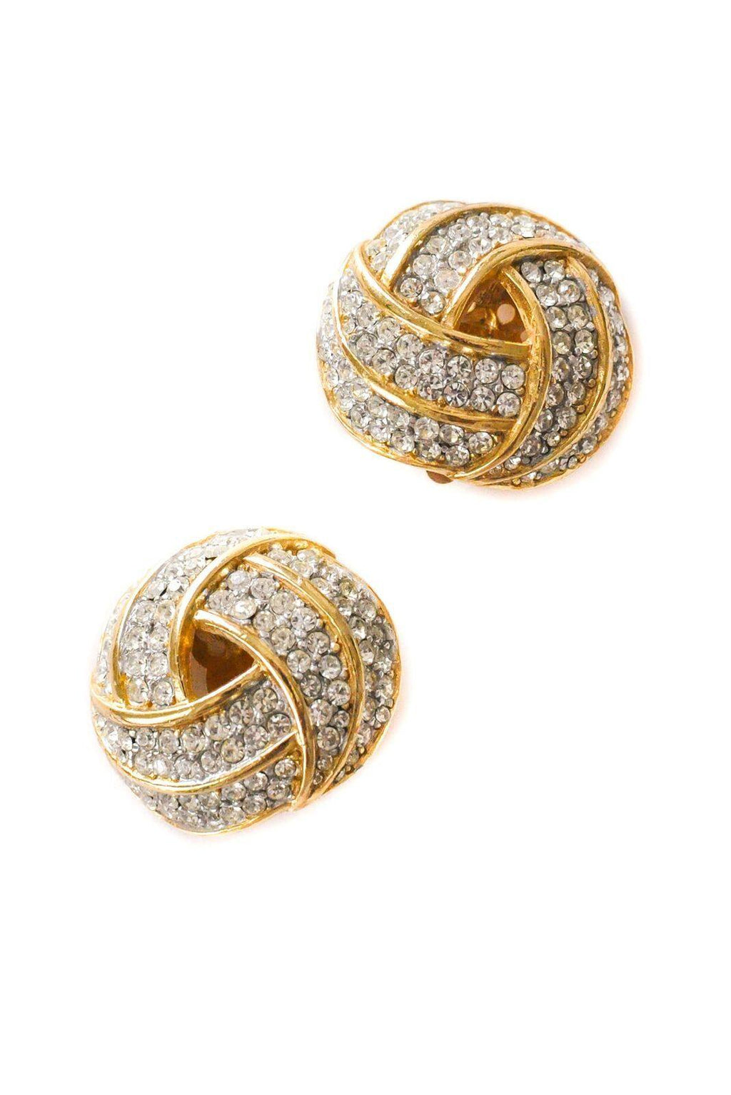 Rhinestone Knot Clip-On Earrings