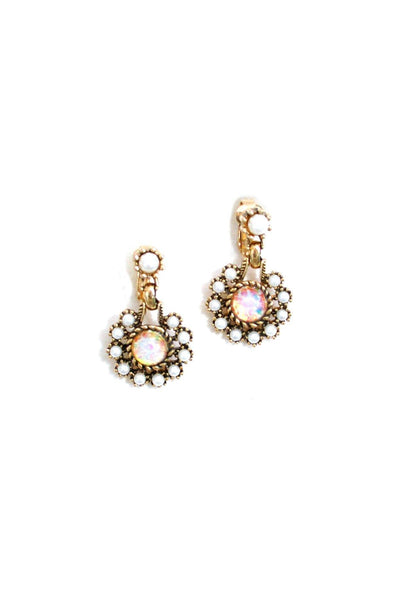 60's__Sarah Coventry__Opal Drop Clip-On Earrings