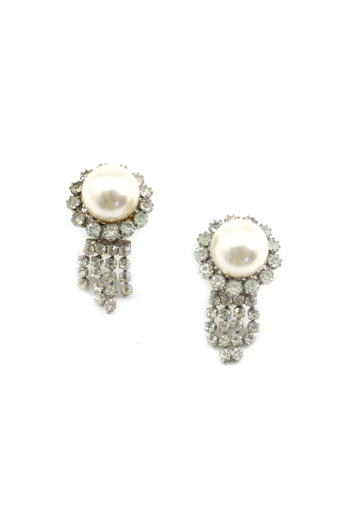 60s__Judy Lee__Pearl and Rhinestone Drop Clip-On Earrings