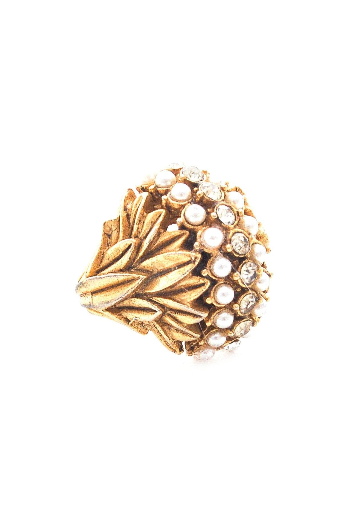 Adjustable Pearl Dome Ring