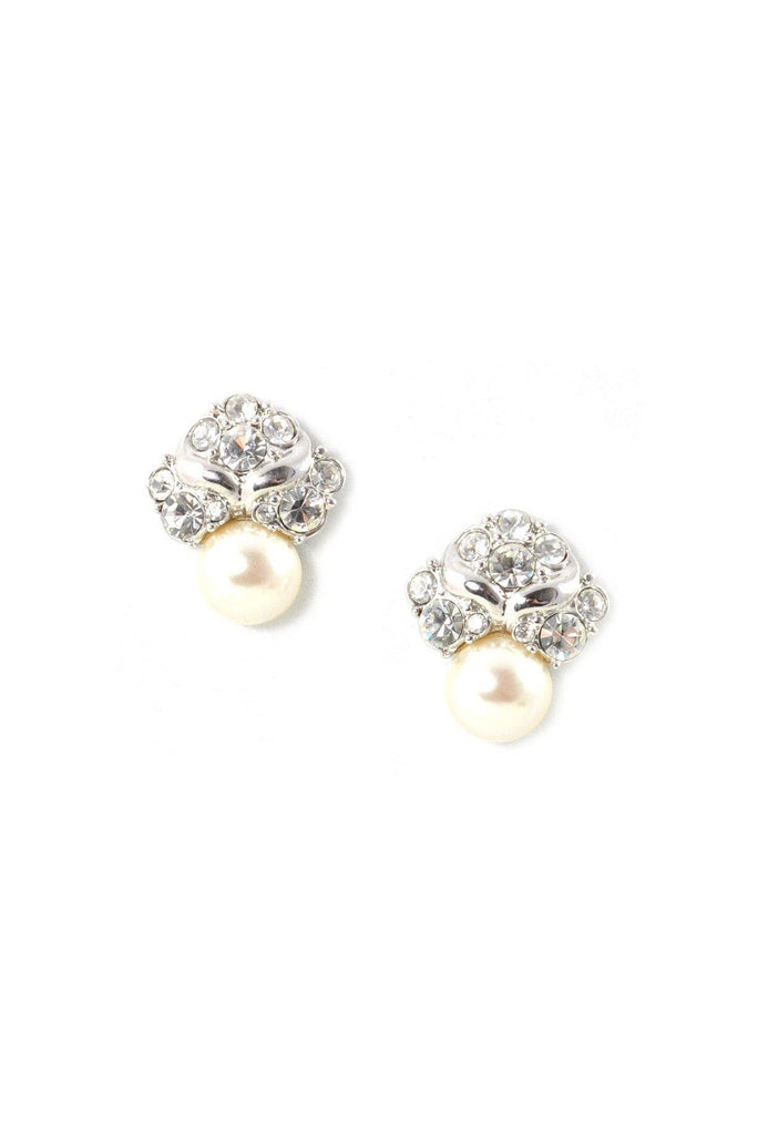 60s__Vintage__Rhinestone & Pearl Pierced Earrings