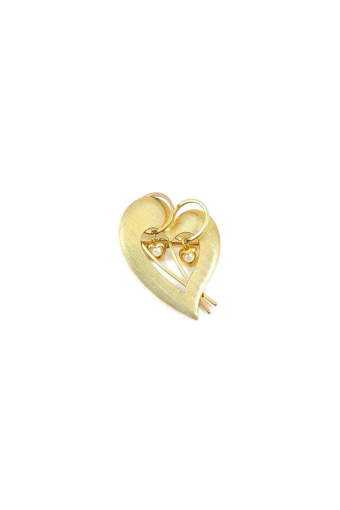 50s__DEC__Gold Pearl Heart Brooch