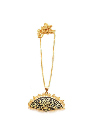 Damascene Fan Pendant Necklace