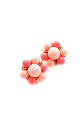 Chunky Pink Cluster Clip-on Earrings
