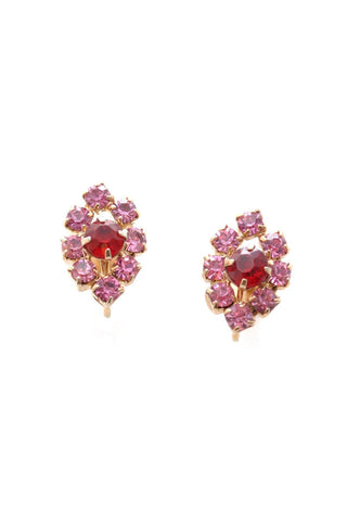 50s__Vintage__Pink Rhinestone Clip-On Earrings