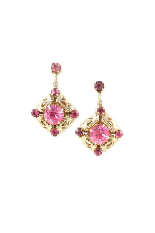 50s__Vintage__Pink Rhinestone Drop Clip-On Earrings