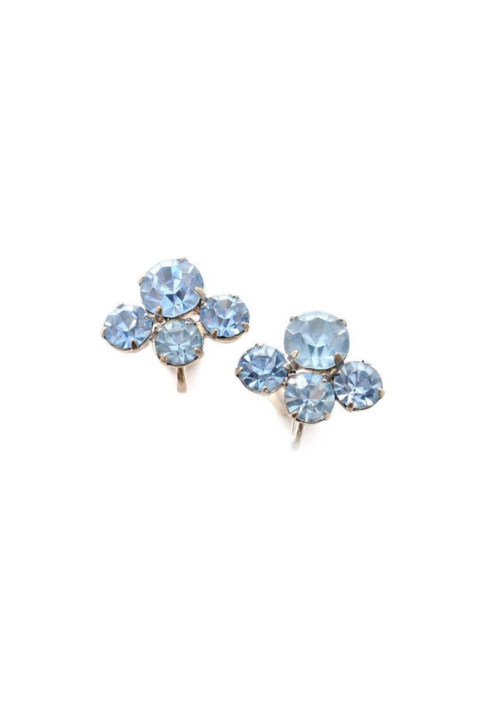 50s__Vintage__Blue Rhinestone Clip-On Earrings