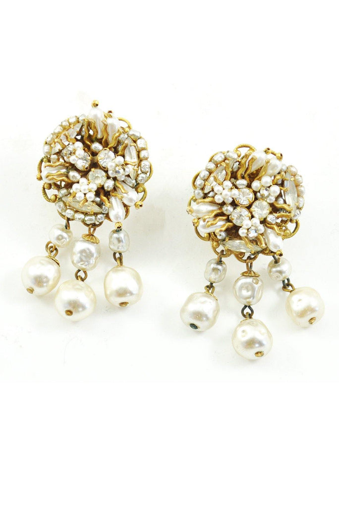 50s__Vintage__Statement Pearl Drop Clip-On Earrings