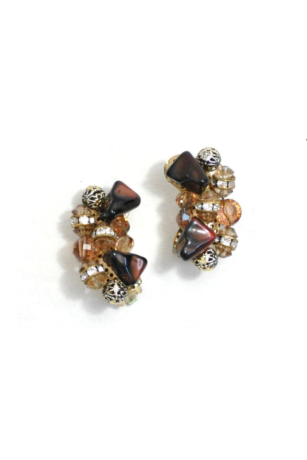 60's Vintage Beaded Crawler Clip-On Earrings