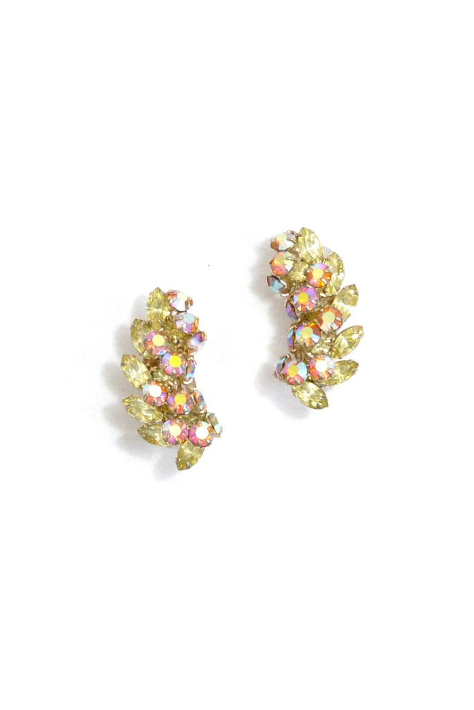 60's__Vintage__Rhinestone Crawler Clip-On Earrings