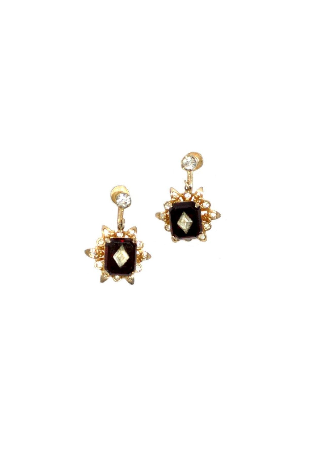 50's Vintage Rhinestone Drop Clip-On Earrings