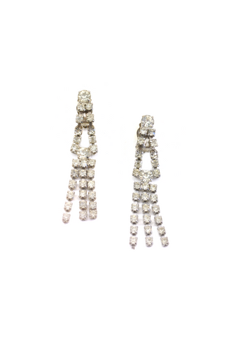Long Rhinestone Drop Clip-on Earrings
