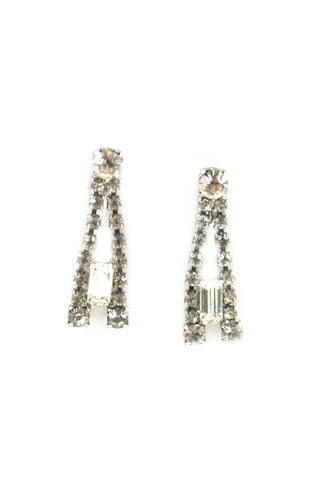 Glam Rhinestone Drop Clip-on Earrings