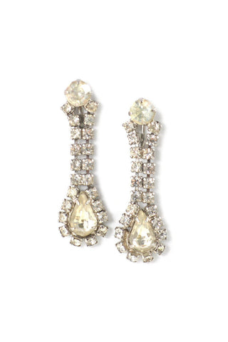 50s__Vintage__Rhinestone Drop Clip-On Earrings
