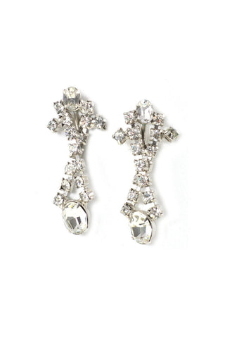 Twisted Rhinestone Drop Clip-on Earrings