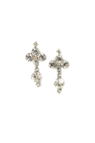 Rhinestone Cluster Drop Clip-on Earrings