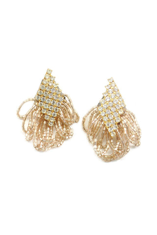 70s__Vintage__Rhinestone Fringe Clip-On Earrings