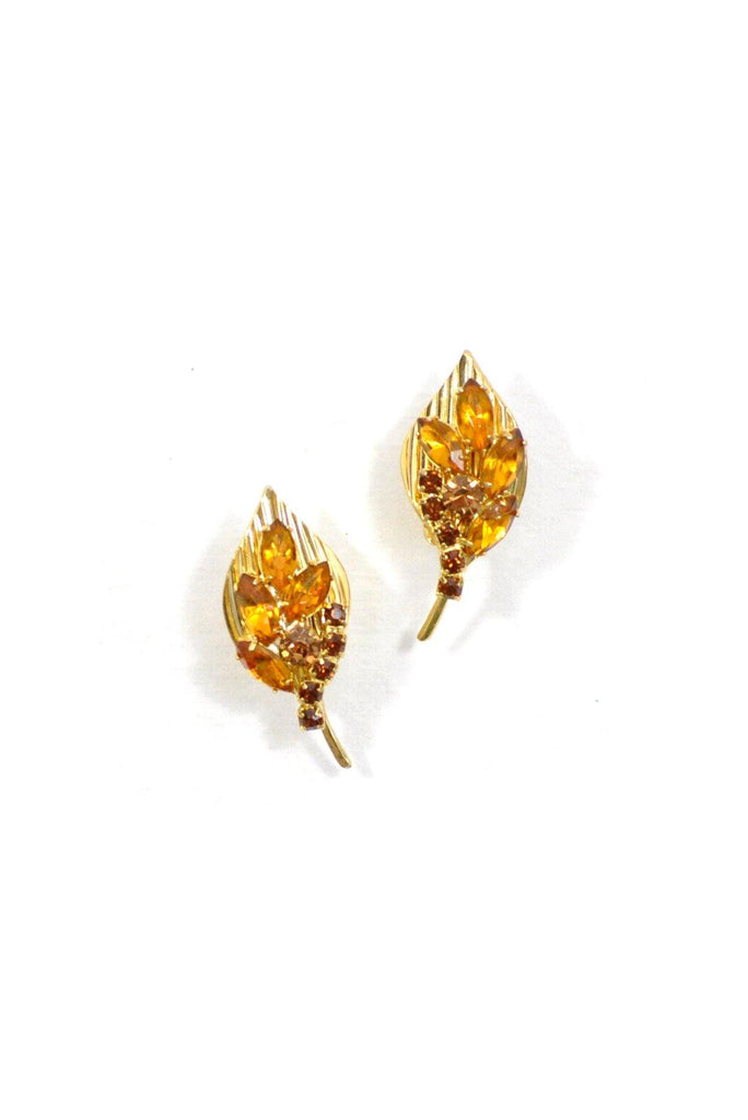 50's__Vintage__Rhinestone Leaf Clip-On Earrings
