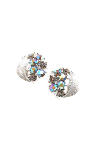 50s__Lisner__Rhinestone Leaf Clip-On Earrings