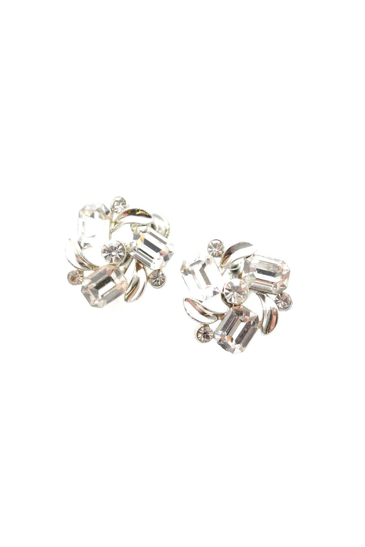 50s__Lisner__Rhinestone Clip-On Earrings