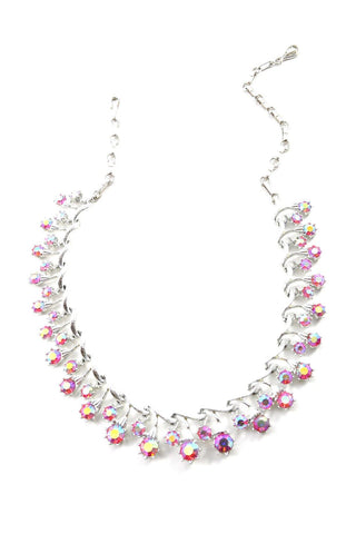 50s__Coro__Iridescent Rhinestone Necklace
