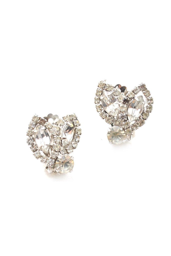 50s__Weiss__Rhinestone Clip-On Earrings