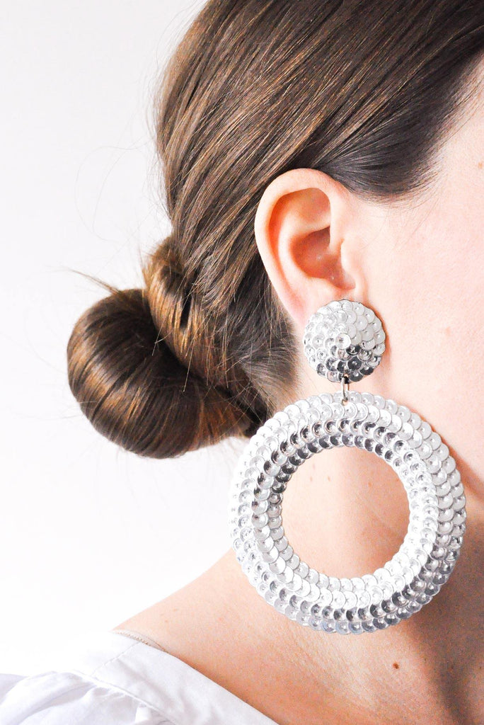 Sequin Statement Hoop Clip-on Earrings