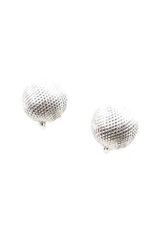 60s__Trifari__Textured Silver Clip-On Earrings