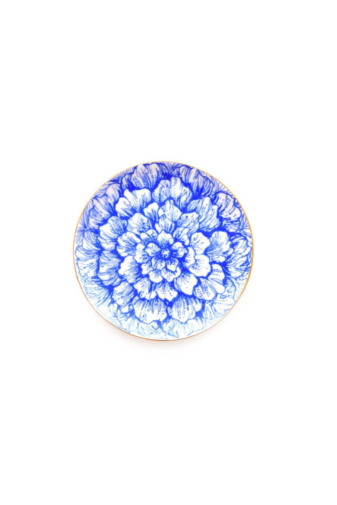 Blue & White Floral Jewelry Dish