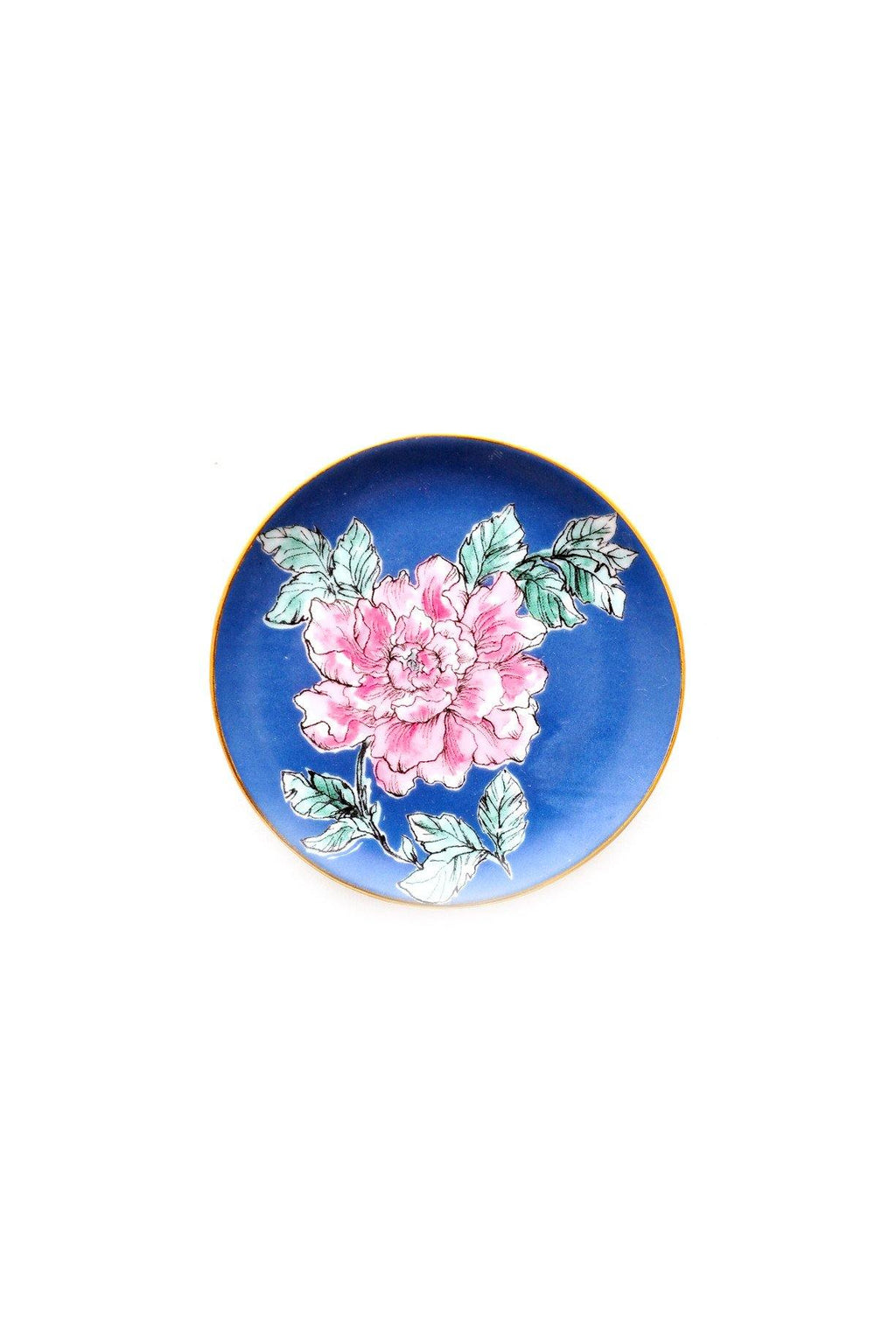 Pink & Black Floral Jewelry Dish